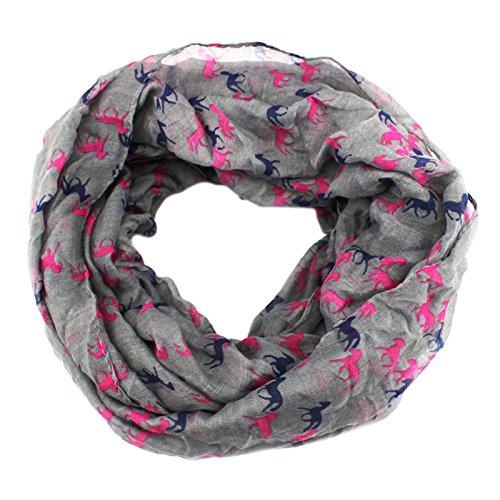 PendantScarf Women's Fashion Animal Horse Print Loop Ring Infinity Scarf (Gray)