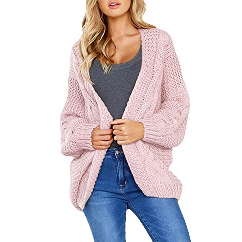 UONQD Women Knitted Solid Long Sleeve Cardigan T-shirt Tops Sweater Coat (Medium,Pink)