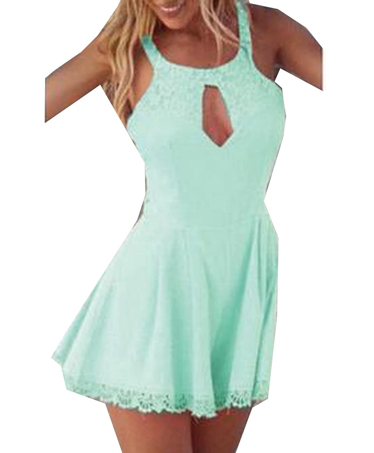 Winwinus Womens Hollow Out Sexy Lace Ink Backless Chic Harness Dress Green US L