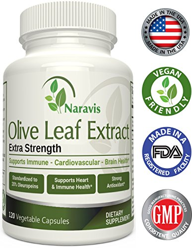 Olive Leaf Extract 120 Caps (Naravis Olive Leaf Extract - 750mg - 120 Veggie Capsules - 20% Oleuropein - Non-GMO - Immune Support - Cardiovascular Health - Antioxidant Supplement)