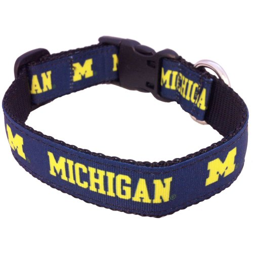 All Star Dogs NCAA Michigan Wolverines Dog Collar, Navy, X-Small