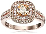 Rose Gold Plated Champagne Cubic Zirconia Cushion Cut Halo Ring Deal (Small Image)