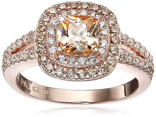 14k Rose Gold Plated Sterling Silver Champagne Cubic Zirconia Cushion Cut 6mm Double Halo Ring, Size 7 (Settings Rose Gold Engagement Ring)