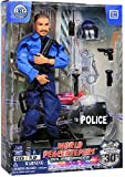 """Click N Play 12"""" Police Officer Action Figure Playset with Accessories."""