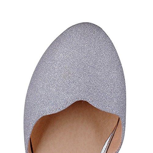 AmoonyFashion Womens Solid Pu Kitten Heels Round Closed Toe Buckle Pumps Shoes Silver nxHbfkko