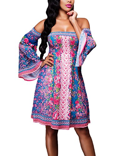 shelovesclothing - Robe - Patineuse - Manches Longues - Femme multicolore Bleu Rose 42
