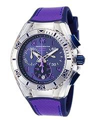 Technomarine Tm-115021 Women's Cruise Calif. Chrono Blue Silicone Purple Canvas Blue Dial Watch