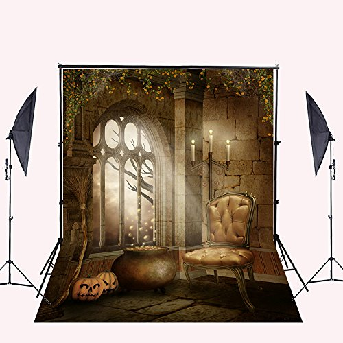 Poison Props (Halloween Photography Background, Kate Pumpkin Lantern Indoor Poison Photo Backdrop Wrinkles Free Cotton Backdrops, 5×7FT Studio Props)