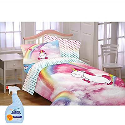 NEW! Despicable Me 3 Fluffy The Unicorn Fluffy Rainbows Kids Bedding Reversible Polyester Comforter Set with Fabric Refresher