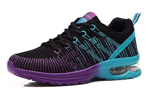 No.66 Town Womens Air Cushion Flyknit Athletic Running Shoes Fashion Sneakers Black Purple