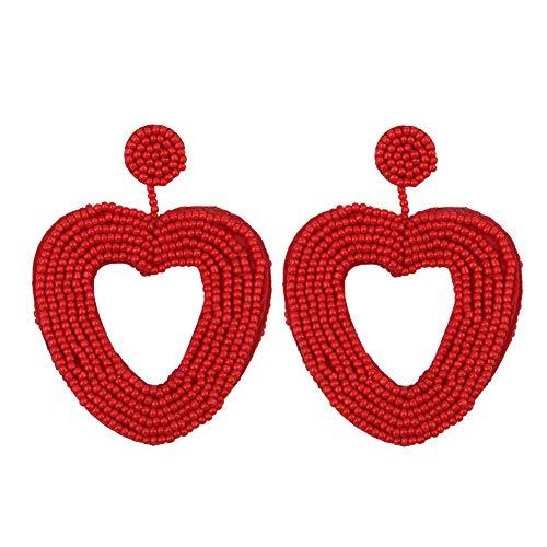 YOUTH UNION Beaded Drop Earrings Statement Handmade Double-Sided Beaded Wire Wrapped Bohemian Hoop Dangle stud Earrings for Women (love heart red)