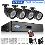 Rraycom 4CH 1080p HDMI POE NVR System with (4) 2000TVL Surveillance IP Network Security Camera with 1TB Hard Drive IR Night Vision, Motion Detection and Remote Access