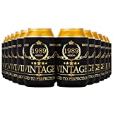 Crisky Vintage 1989 Birthday Can Coolers Party Favor 30th Birthday Decoarions Black and Gold, Can Insulated Covers Neoprene Coolers for Soda, Beer, Beverage