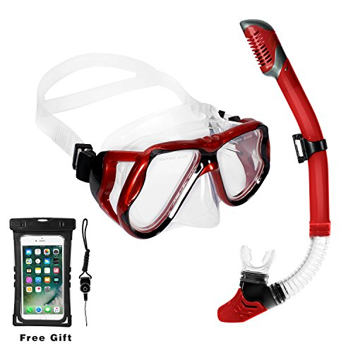 CAPAS Dry Top Snorkel Set for Adult Youth, Anti-Leak Anti-Fog Glass Lens Googles for Best Vision, Soft Mouthpiece Snorkel Tube for Comfortable Snorkeling, Waterproof Pouch Included