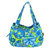 MAGOU Quilted Cotton Handle Bags Shoulder Bag (Green-Blue)