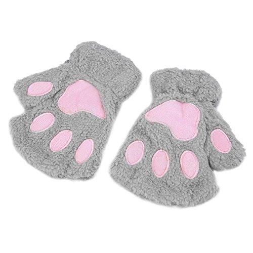 Queenbox Women Cat Paw Fingerless Gloves Winter Warm Plush Bear Claw Mitten