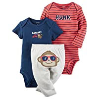 William Carter Baby Boys' 3 Piece Take Me Home Set (Baby) - Red Monkey Hunk, Newborn