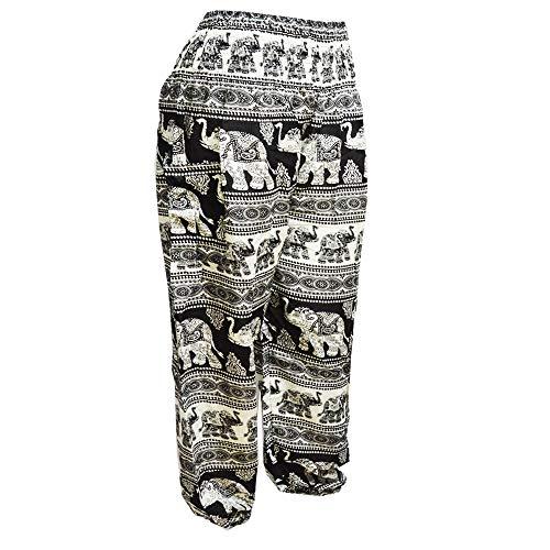 Femmes Sarouel Elephant Black bangkok Pants White Mr 3 Harem Smockée Pantalon Boho Taille amp; STtnqH