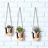 Metallic Copper-Tone Ceramic 4 Inch Hanging Succulent Planters, Set of 3 For Sale