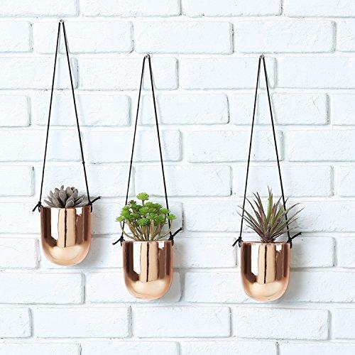 4 Inch Planter - Metallic Copper-Tone Ceramic 4 Inch Hanging Succulent Planters, Set of 3