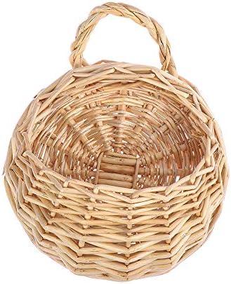手芸 壁掛け 装飾花瓶 多肉植物 ガーデンデコレーション ハンギングバスケット ラタン フラワーバスケット(S,Willow)