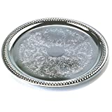 "Tablecraft 14"" Round Chrome Plated Serving Tray"