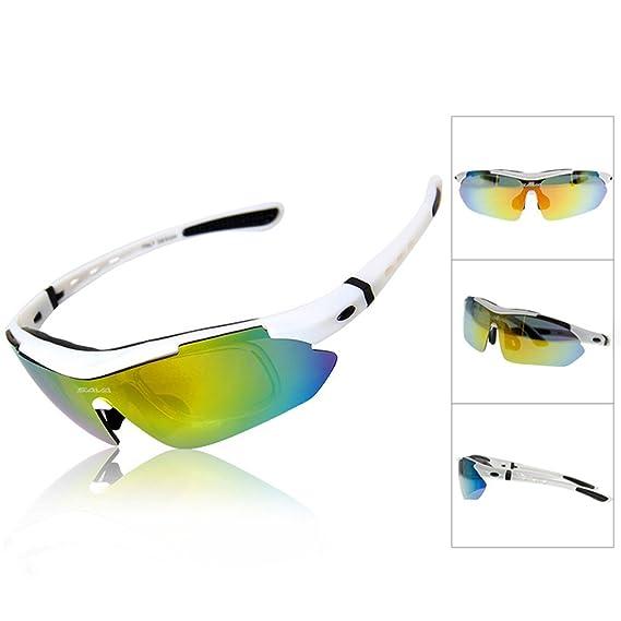 SAVA TR90 Lunettes de Cyclisme Lunettes de soleil polarisées pour les activités de plein air Meilleur Protection des yeux Équipement de vélo multi sport Swap 5 UV400-Lentilles irrégulières (Bleu) gMAiTlTs5