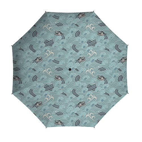 Compact Folding Travel Umbrella Windproof Waterproof,Japanese Wave,Auto Open Close Umbrella 42 Inch,Asian Style Pattern with Dragon Figures and Sea Waves Mythology Monster]()