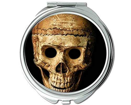 Mirror,Round Mirror,Skull halloween people mask dummy,pocket mirror,1 X 101X Magnifying -
