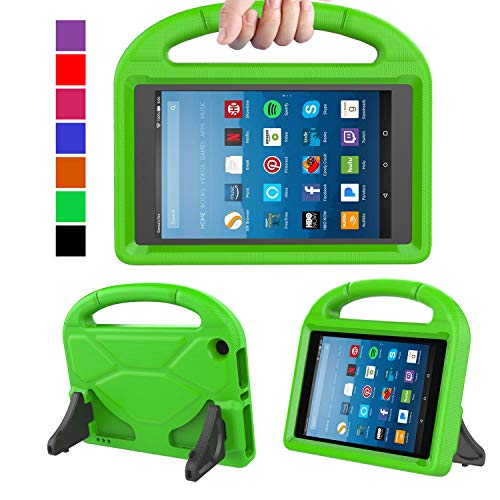 MENZO Kids Case for Amazon All-New Fire HD 8 2018/2017, Light Weight Shockproof Handle Stand Kids Friendly Case for Fire HD 8 inch (2017 and 2018 Releases) Tablet, Green
