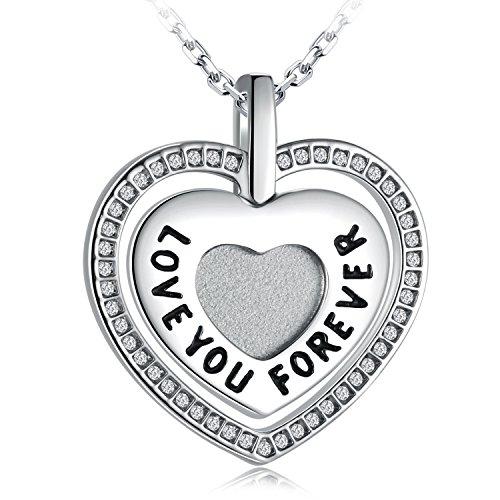 SUES SECRET Swarovski Element Necklace Engraved Love You Forever Blessed Heart Necklace with Swarovski Crystals, 18