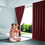 SHIELD CREATOR Blackout Curtains, Back Tab Rod Pocket Solid Blackout Curtains, Thermal Insulated Window Drapes Living Room, 2 Panels(W52 X L63, Red Wine)