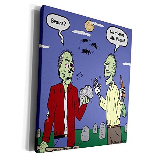 Vegan Halloween Cartoons (3dRose Rich Diesslins Funny General Cartoons - Halloween - Zombie Vegans - Museum Grade Canvas Wrap)