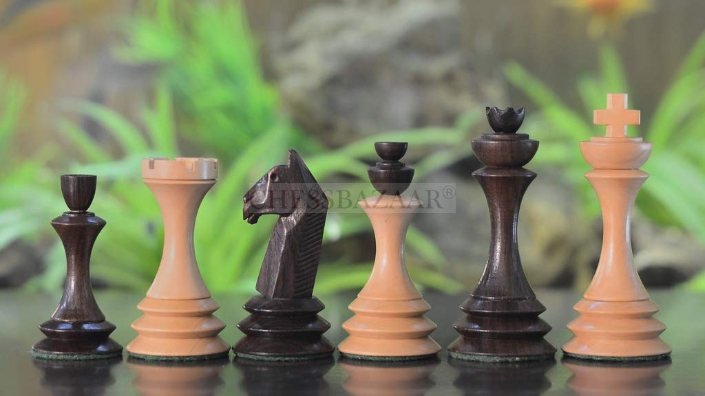 再現アンティークシリーズ 木製チェスピース ローズ&ボックスウッド - 4.0インチ キング B07RNDHFHY