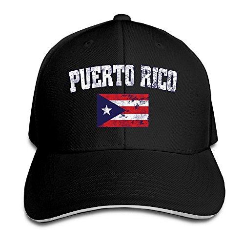 Women's/Men's Puerto Rico Faded Distressed Flag Adult Adjustable Snapback Hats Trucker (Top Hat Puerto Rico)