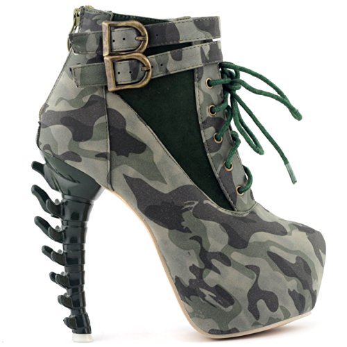 e Up Buckle High-top Bone Camo Military Ankle Boots,LF40601GR36,5US,Green ()