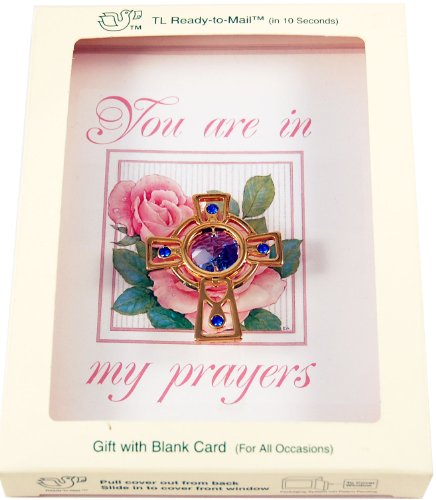 Gold Plated Crystal 24k Austrian (24K Gold Plated Celtic Cross with Swarovski Austrian Crystals, a Blank CHARM CARD {R} and an Envelope in a Mailable Gift Box (Patented in 6 Countries))