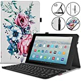 Retear Keyboard Case for HD 10 Tablet(7th Generation, 2017 Release) with Detachable Wireless Bluetooth Keyboard and Auto Sleep/Wake