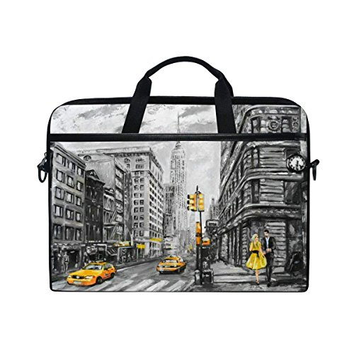New York Slim Briefcase - YQINING Laptop Bag Fits 15 Inch or 15.4 Inch Laptop Tablet Computer Vintage New York Street Briefcase Shoulder Messenger Bag for Men and Women