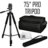 Professional 75'' Tripod 3-way Panhead Tilt Motion w/ Bubble Leveler & Rugged Series Water Resistant Carrying Case for Panasonic AG-AC7, AG-AC8PJ, AG-HMC40, AG-HMC80, AG-HMC150, AG-AC130A, AG-AC160A