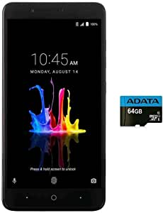 "ZTE Blade Z MAX Z982 (32GB, 2GB RAM) 6.0"" Full HD Display, Dual Rear Camera, 4080 mAh Battery, 4G LTE GSM Unlocked Smartphone w/US Warranty (Black) (32GB + 64GB SD Bundle)"