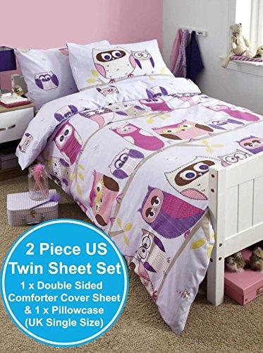 dise/ño de b/úhos Yorkshire Linen Hoot individual color lila Juego de funda n/órdica