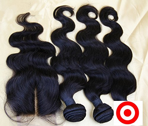 DaJun Hair 7A Mongolian Virgin Body Wave Human Hair Bundles With Mid-Part Closure Natural Color 8''closure+12''16''16''weft by DaJun