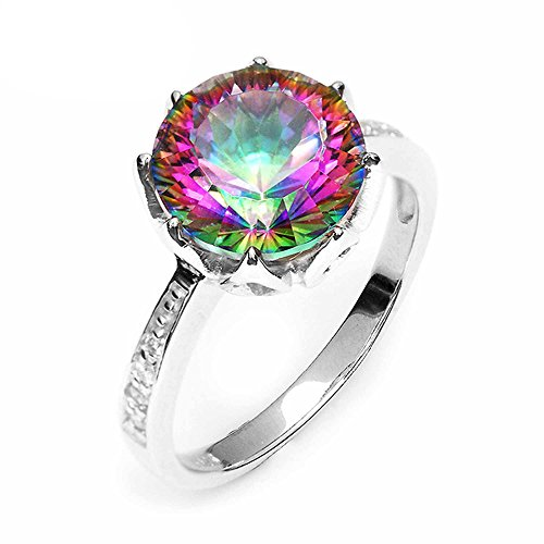 PSRINGS Rings 4.3ct Rainbow Fire Mystic Topaz Round Concave Cut Solid 925 Sterling Silver Antique Gem stone Jewelry 6.0