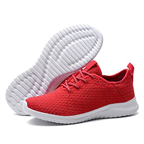 Run Sports Stylish Trainers Womens TIOSEBON Red 2111 Lightweight Breathable RYPRw6q