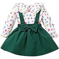 DERCLIVE Çocuk Kız Bebek Kıyafetleri Uzun Kollu Çiçekli Gömlek + Askılı Etek 1-4 Yaş Kız Bebekler için