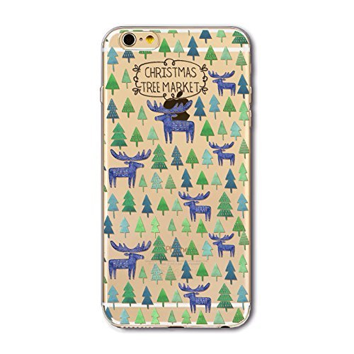 iPhone 7, Christmas Darling Santa Claus Series Colorful Rubber Flexible Silicone Case Bumper for Apple Clear Cover - Christmas Tree Market Purple Deer Overload