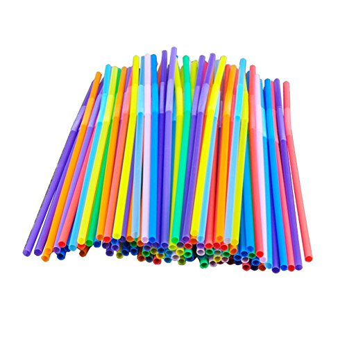 Colorful Extra Long Flexible Bendy Party Disposabl Drinking Straws, 100 (Drinking Straws)