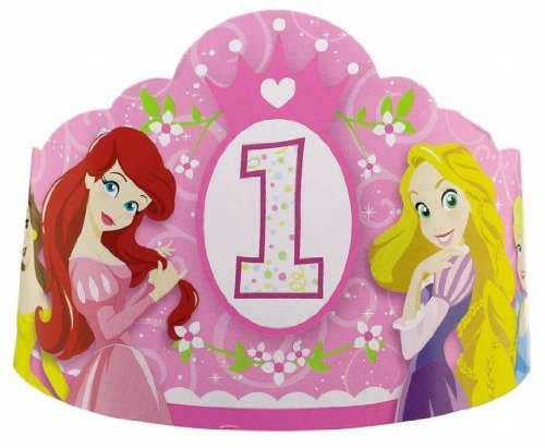 Disney Princess 1st Birthday Paper Tiaras