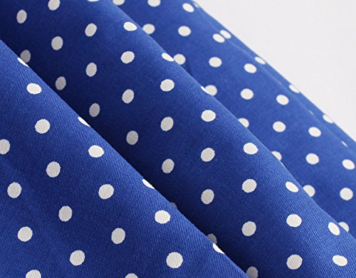 ZAFUL Mujer Vestido Vintage 1950s Polka Dots Retro Encaje Vestidos Plisados de Coctel sin Mangas Verano Rockabilly Clásico Azul